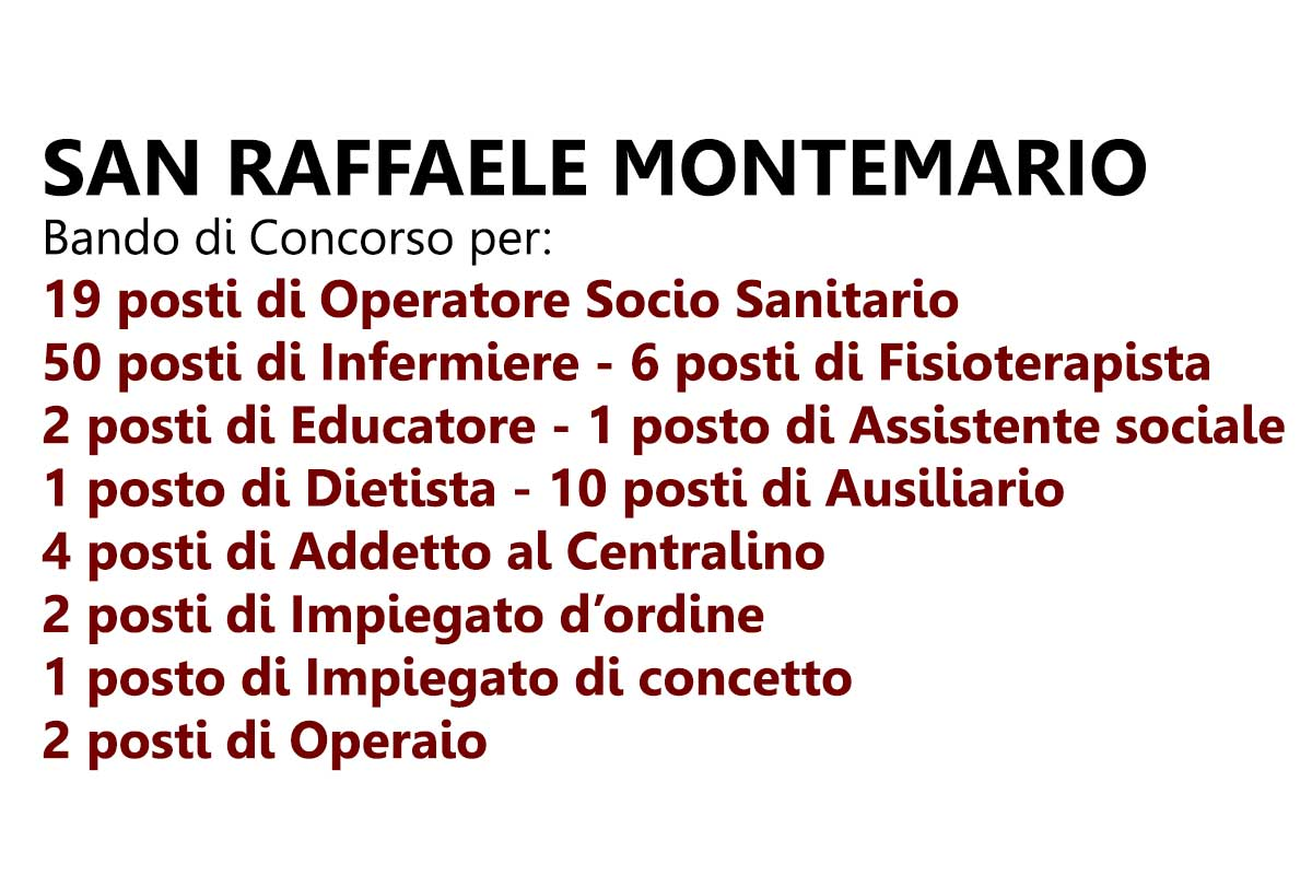 CONCORSO 98 postiSan Raffaele Montemario