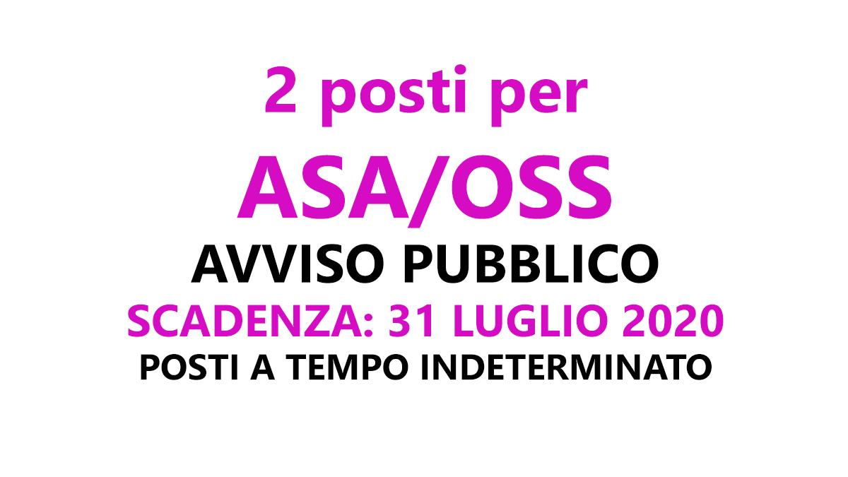 2 posti ASA OSS avviso pubblico Luglio 2020